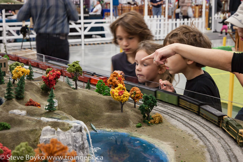 Children enjoying the model trains